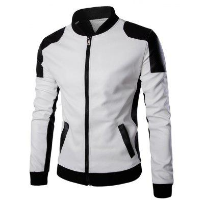 Ventilate Design Color Block Faux Leather Jacket