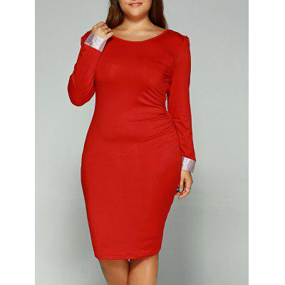 Sleeve Cuff Backless Plus Size Dress