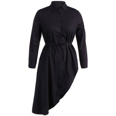 Belted Asymmetrical Long Sleeve Shirt Dress