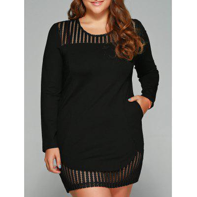 Plus Size See-Through Long Sleeve Shift Dress