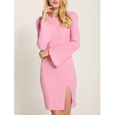 Bell Sleeve Lace Up Fit Slit Jumper Dress