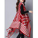 best Zigzag Stripe Fringed Asymmetric Sweater Cardigan