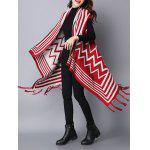 Zigzag Stripe Fringed Asymmetric Sweater Cardigan deal