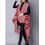 cheap Zigzag Stripe Fringed Asymmetric Sweater Cardigan