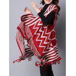 Zigzag Stripe Fringed Asymmetric Sweater Cardigan for sale