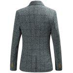 Plaid Ornement Imprimer Doublure Flap Pocket One-Button Blazer - GRIS CLAIR