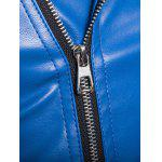 Side Zipper-Up Collar Giacca Ecopelle Girare-Down - BLU