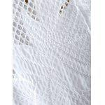 Stand Neck Cut Out Crochet Flower Jacket - WHITE