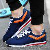 Suede Stitching Athletic Shoes - DEEP BLUE