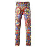 cheap Figure Print Button Pocket Zipper Fly Pants