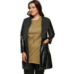 Buy Plus Size Wool Faux Leather Splicing Coat 4XL BLACK