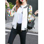 Floral Zip Up chaqueta corta - BLANCO