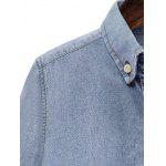 Bleach Wash Hemming Sleeves Denim Shirt for sale