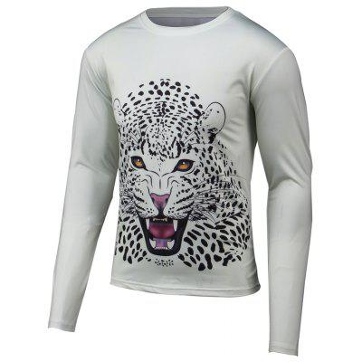 Leopard 3D Print Round Neck Long Sleeve T-Shirt