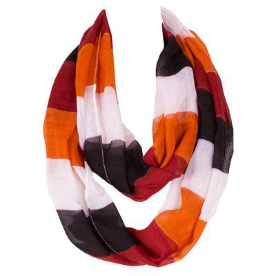 Chic Color Block Stripe Pattern Loop Infinity Voile Scarf