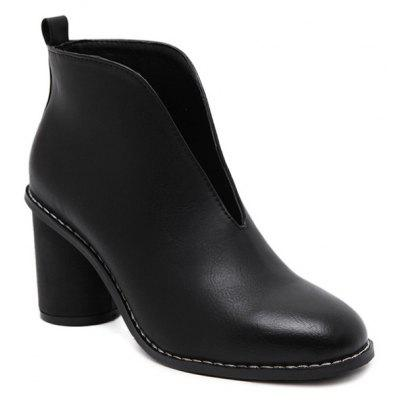 PU Leather V-Shape Dark Colour Ankle Boots
