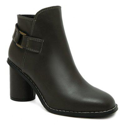 Dark Colour PU Leather Ankle Boots