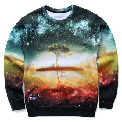 3D Starry Sky and Tree Print Round Neck Long Sleeve Sweatshirt