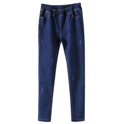 Elastic Waist Fleece Tapered Denim Pants