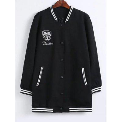 Stand Collar Striped Hem Badged Jacket
