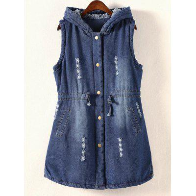 Frayed Drawstring Hooded Vest