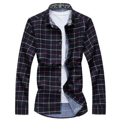 Grid Button Up Long Sleeve Plus Size Shirt