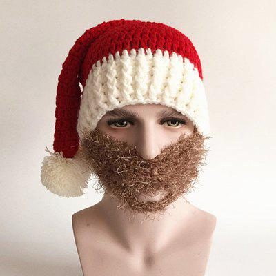 Christmas Knitted Faux Beard Face Hat