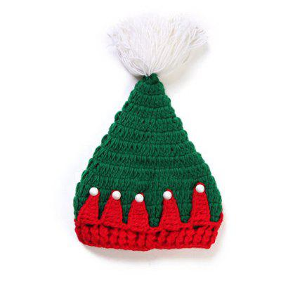 Faux Pearl Knitted Christmas Hat