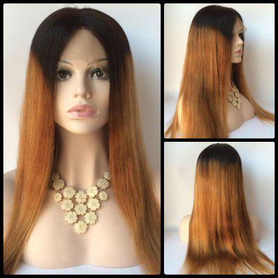 Buy COLORMIX Long Straight Middle Part Double Color Lace Front Real Natural Hair Wig for $212.28 in GearBest store