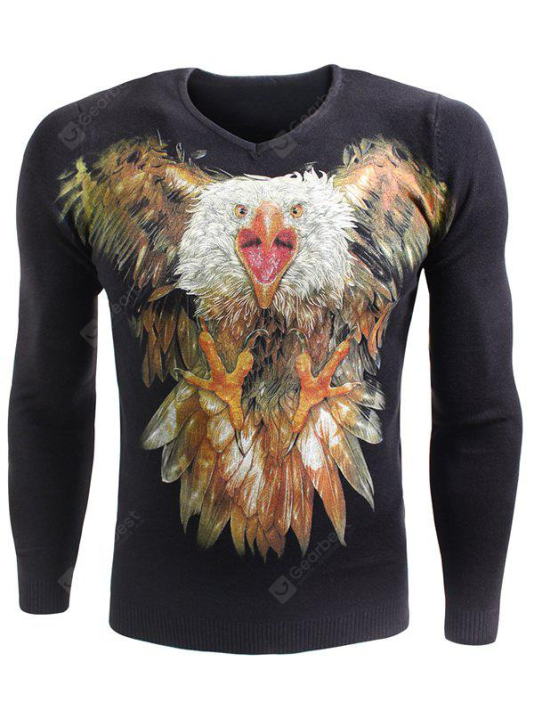 V-Neck 3D Eagle Dog Print Long Sleeve Sweater