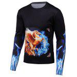 3D Pegasua Print Round Neck Long Sleeve T-Shirt - BLACK