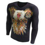 V-Neck 3D Eagle Dog Print Long Sleeve Sweater - BLACK