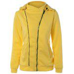 Asymmetric Zip Yellow Hoodie - YELLOW