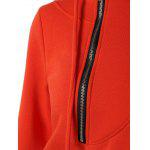 Pocket Design Drawstring Long Hoodie - RED