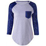 Plus Size Lace Splicing Single Pocket T-Shirt - AZUL ESCURO