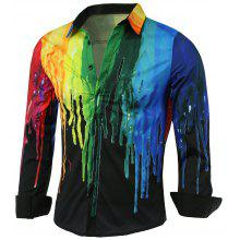Gearbest Long Sleeve Colorful Paint Dripping Print Shirt