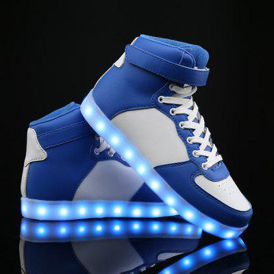 Buy BLUE AND WHITE Colour Block Lights Up Led Luminous Casual Shoes for $37.51 in GearBest store