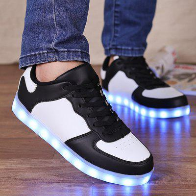 Buy WHITE AND BLACK Led Luminous Lights Up Colour Splicing Casual Shoes for $34.28 in GearBest store