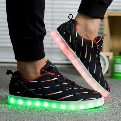 Buy BLACK Led Luminous Meteor Pattern Lights Up Casual Shoes for $20.21 in GearBest store