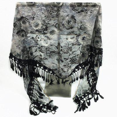 Feather Pendant Flower Pattern Lace Triangle Scarf