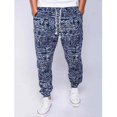 Cotton and Linen Geometric Print Drawstring Beam Feet Jogger Pants