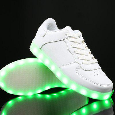 Buy WHITE PU Leather Lights Up Led Luminous Casual Shoes for $35.53 in GearBest store