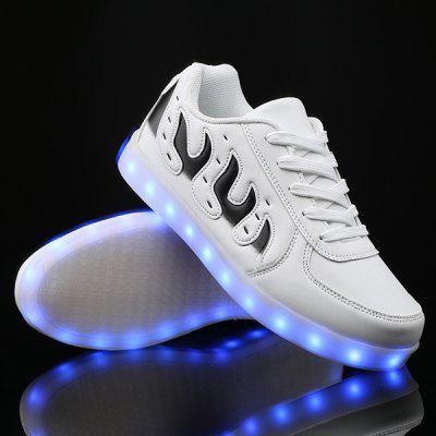 Buy WHITE Lights Up Led Luminous Color Block Casual Shoes for $34.28 in GearBest store