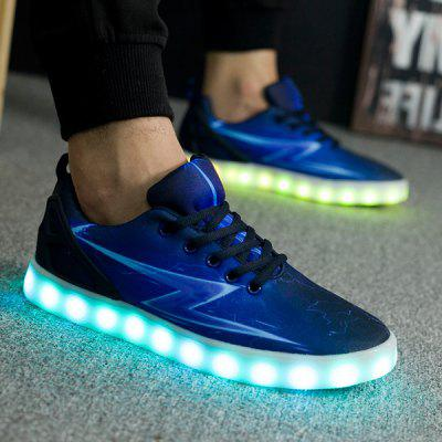 Lights Up Led Luminous Lightning Print Casual Shoes