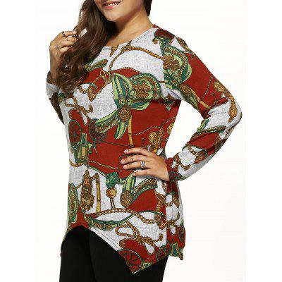 Long Sleeves Printed Knitted Asymmetrical Pullover