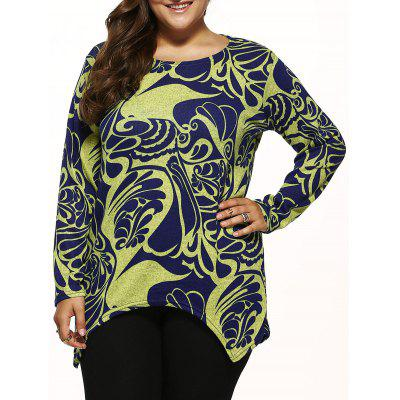 Paisley Knitted Asymmetrical Pullover Plus Size Sweater