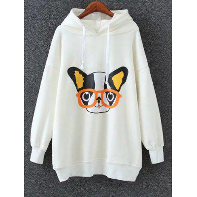 Animal Print Drop Shoulder Long Hoodie