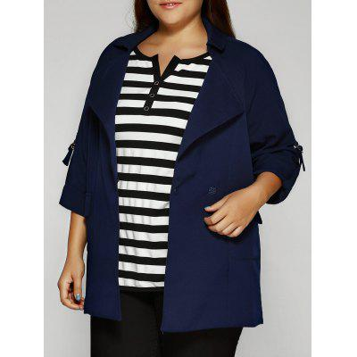Plus Size Lapel Collar Pockets Jacket
