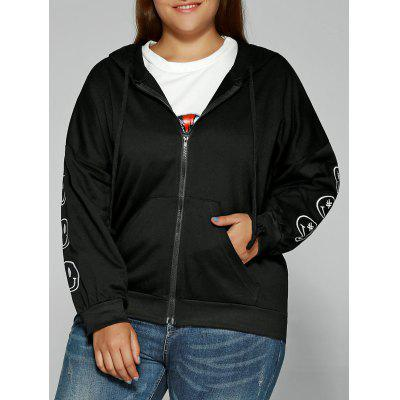 Smile Face Embroidered Zipper Flying Hoodie
