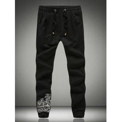 Single Back Pocket Eyelet Drawstring Rose Print Jogger Pants